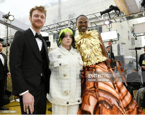 Finneas O'Connell Billie Eilish and Billy Porter attend the 92nd Annual Academy Awards at Hollywood and Highland on February 09 2020 in Hollywood...