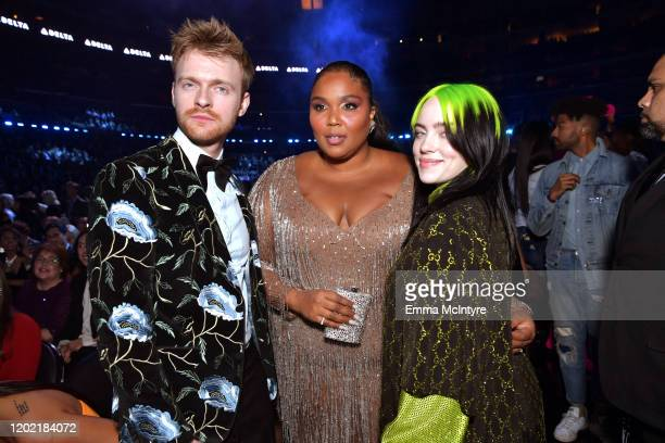 Finneas O'Connell Lizzo and Billie Eilish attend the 62nd Annual GRAMMY Awards at STAPLES Center on January 26 2020 in Los Angeles California