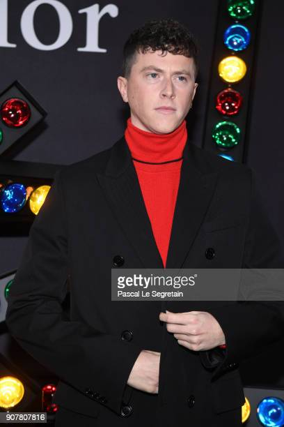 Finnegan Oldfield poses at Dior Homme Menswear Fall/Winter 20182019 show as part of Paris Fashion Week at Grand Palais on January 20 2018 in Paris...