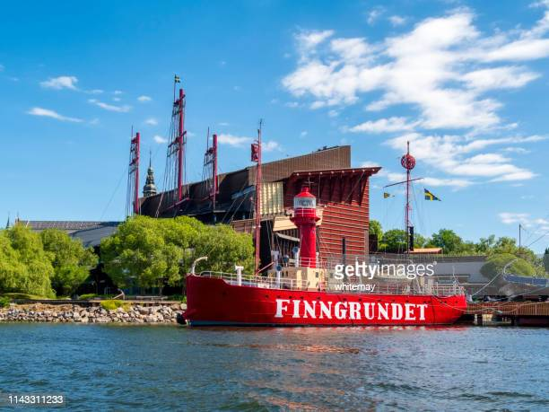 finngrundet museum lightship and vasa museum at djurgården, stockholm harbour - vasa ship stock pictures, royalty-free photos & images