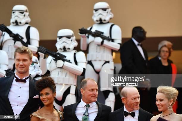 Finnish actor Joonas Suotamo, British actress Thandie Newton, US actor Woody Harrelson, US director Ron Howard and British actress Emilia Clarke pose...