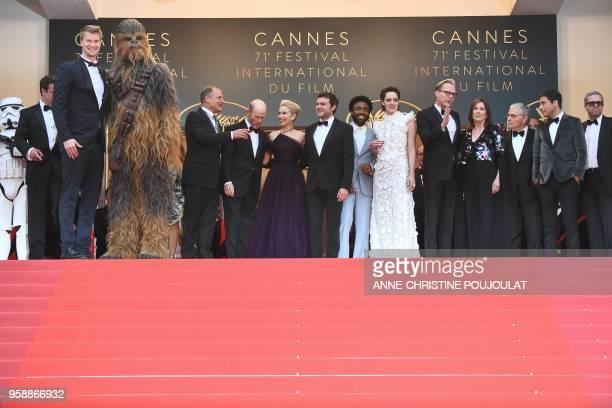 Finnish actor Joonas Suotamo Chewbacca US actor Woody Harrelson US director Ron Howard British actress Emilia Clarke US actor Alden Ehrenreich US...