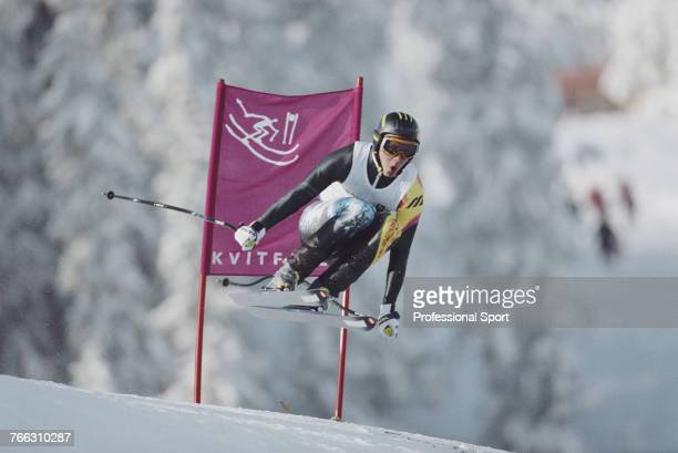 Finnish alpine skier Janne Leskinen pictured competing for the Finland team to finish in 30th place in the Men's downhill skiing event held at...