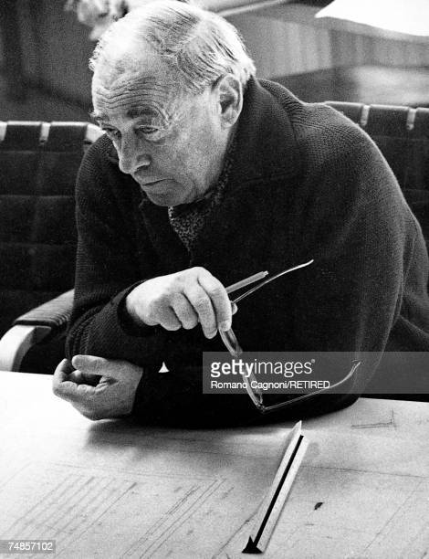 Finnish architect and designer Alvar Aalto at his drawing board Finland 1962