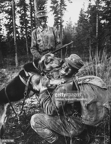 Army parachute jumping dog shown with soldiers during training