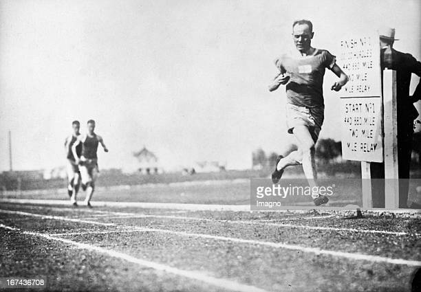 Finnish athlete and from 1920 to 1928 winner of nine gold medals at the Olympics Paavo Nurmi tested his time with his clock at a race in Dallas ....