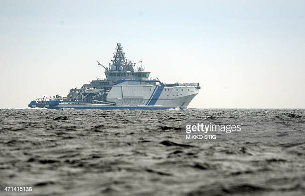 Finnish Border Guard's ship Turva patrols in waters near Helsinki on on April 28 2015 Finland said Tuesday its navy had fired warning shots at a...