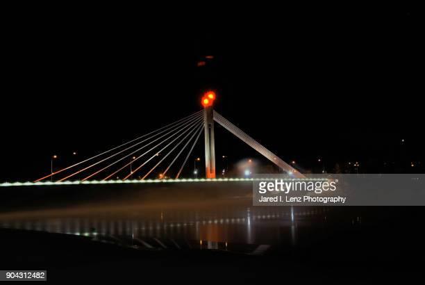 Finnish Bridge Lights Illuminate the Nighttime Winter Mist