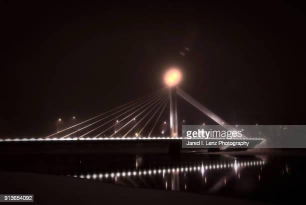 Finnish Bridge Lights Illuminate the Nighttime Winter Mist (Muted)