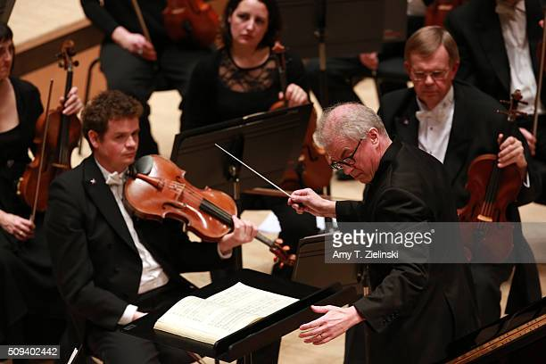 Finnish conductor Osmo Vanska leads the London Philharmonic Orchestra as English pianist Stephen Hough plays the piano in composer Antonin Dvorak's...