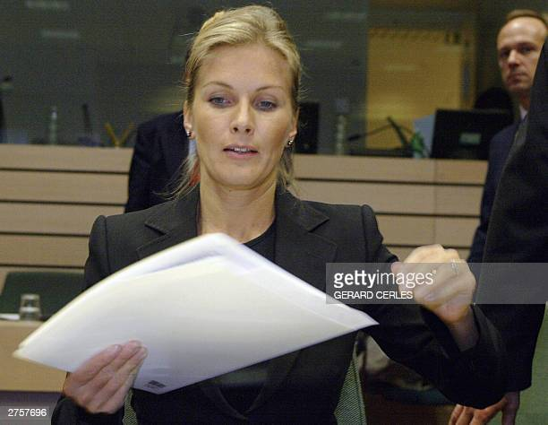 Finnish Culture minister Tanja Karpela arrives for the Culture Council at the EU headquarters in Brussels 24 november 2003 AFP PHOTO GERARD CERLES