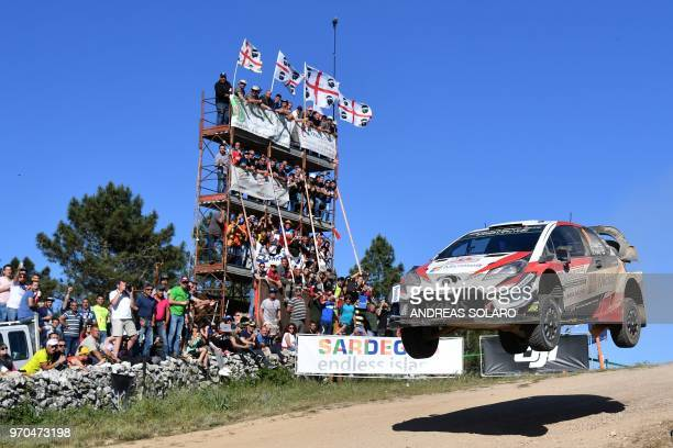 Finnish driver Esapekka Lappi and codriver Janne Ferm drive their Toyota Yaris WRC during the Micky's Jumps at Monte Lerno on the third day of the...