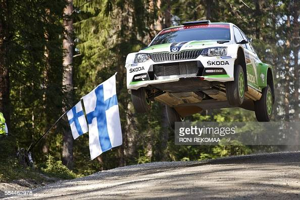 Finnish driver Esapekka Lappi and Finnish codriver Janne Ferm drive their Skoda Fabia R5 during the second day of Neste Rally Finland of FIA World...