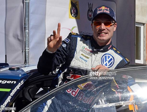 Finnish driver JariMatti Latvala attend the official start of Lotos Rally Poland on July 2 2015 at the main square in Mikolajki north of Poland AFP...