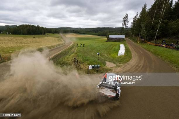 TOPSHOT Finnish driver JariMatti Latvala competes during the Neste Rally Finland in Jyvaskyla central Finland on August 2 2019 / Finland OUT