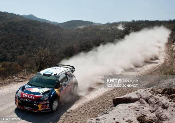 Finnish driver Mikko Hirvonen steers his Citroen ds 3 wrc during the first round of the 2012 FIA World Rally Championship in Leon Guanajuato state...