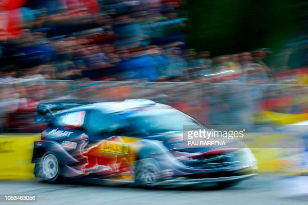TOPSHOT Finnish driver Teemu Suninen steers his Ford Fiesta WRC assisted by Finnish codriver Mikko Markkula during the first day of the Catalonia...