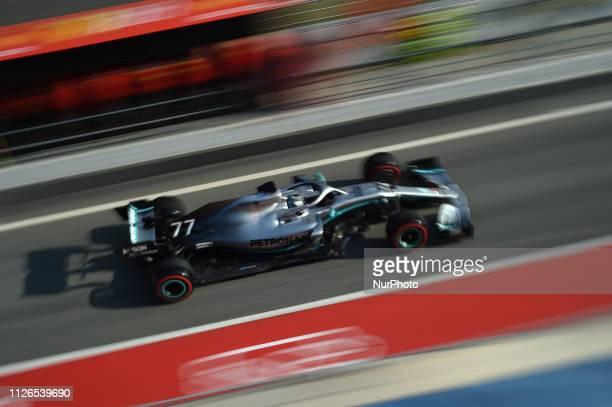 Finnish driver Valtteri Bottas of German team MercedesAMG Petronas Motosport driving his singleseater Mercedes W10 during Barcelona winter test in...