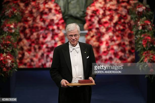 Finnish economist Bengt Holmström is pictured after he was given the Nobel Prize in Economic Sciences in Memory of Alfred Nobel during the award...