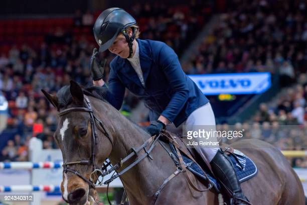 Finnish equestrian Satu Liukkonen on Celestine rides in the Accumulator Show Jumping Competition during the Gothenburg Horse Show in Scandinavium...