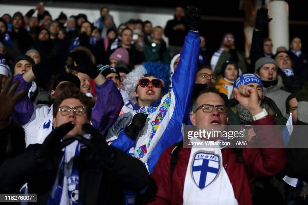 Finnish fans during the UEFA Euro 2020 Qualifier between Finland and Liechtenstein on November 15, 2019 in Helsinki, Finland.