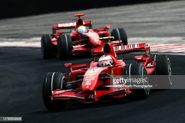 Finnish Ferrari Formula One driver Kimi Raikkonen driving his Ferrari F2007 car ahead of his Brazilian teammate Felipe Massa during the 2007...