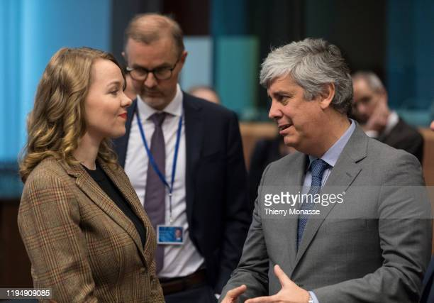 Finnish Finance Minister Katri Briitta Ilona Kulmuni is talking with the Portuguese Finance Minister, President of the group Mario Centeno prior an...