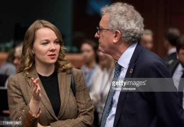 Finnish Finance Minister Katri Briitta Ilona Kulmuni talks with the Luxembourg Minister of Finance Treasury Budget Pierre Gramegna prior to an...