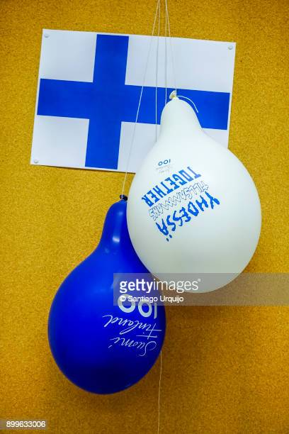 finnish flag and balloons - finnish flag stock photos and pictures