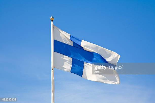 Finnish flag blowing in wind