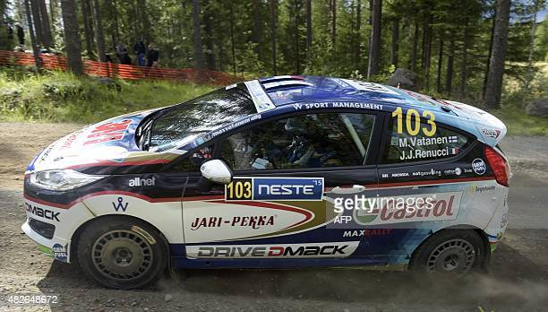 Finnish Ford Fiesta R2 driver Max Vatanen and French copilot Jacques Julien Renucci drive during the Moekkiperae special stage of the 2015 FIA World...