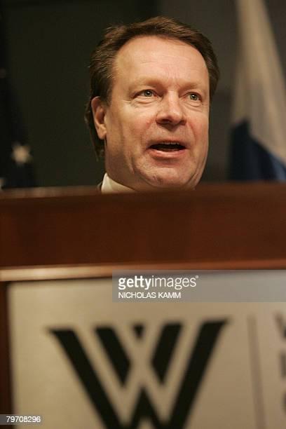 Finnish Foreign Minister Ilkka Kanerva speaks at the Woodrow Wilson International Center for Scholars in Washington on February 11, 2008. Kanerva...