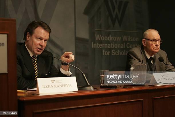 Finnish Foreign Minister Ilkka Kanerva speaks at the Woodrow Wilson International Center for Scholars in Washington,DC on February 11, 2008 as the...