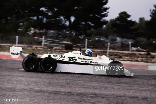 Finnish Formula One driver Keke Rosberg drives his williams saudia 6 wheels during trial sessions at the Castellet circuit on November 6 1981 First...