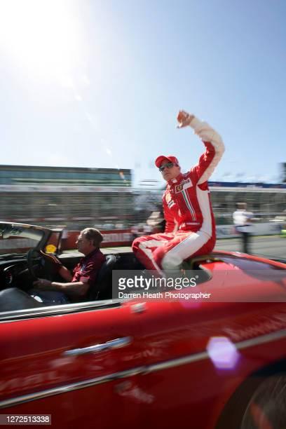 Finnish Formula One driver Kimi Raikkonen driving his Ferrari F2007 V8 Formula One car during the 2007 Australian Grand Prix held at the Melbourne...
