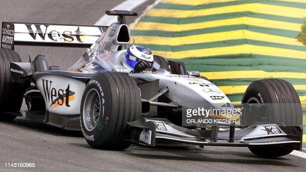 Finnish Formula One driver Mika Hakkinen of McLaren/Mercedes drives his car 30 March 2001 during the training session for the Brazilian F1 GP in Sao...