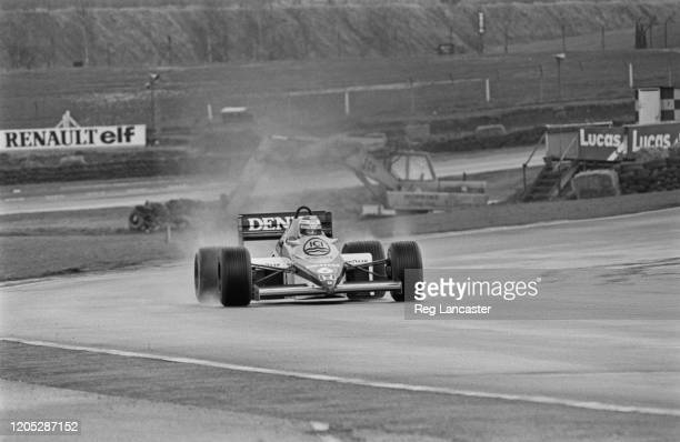 Finnish Formula One racing driver Keke Rosberg, driver with the Williams Formula One team, during testing of the new Canon Williams car at Brands...