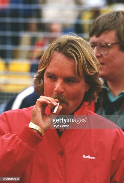 Finnish Formula One racing driver Keke Rosberg of the McLarenTAG team waiting in the pit lane ahead of the 1986 Australian Grand Prix at the Adelaide...