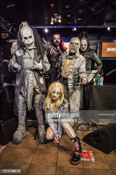 Finnish hard rock band Lordi poses before the 3 hours Lordi Scream Stream Scarctic Circle Gathering gig in Rovaniemi at the Arctic Circle in Finland...