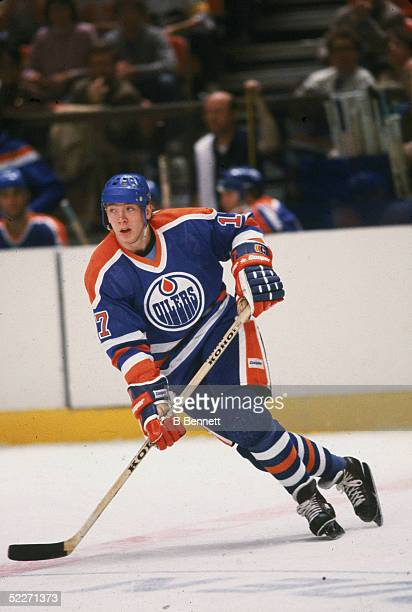 Finnish hockey player Jari Kurri in the uniform of the Edmonton Oilers skates up the ice during a game against the New York Rangers Madison Square...