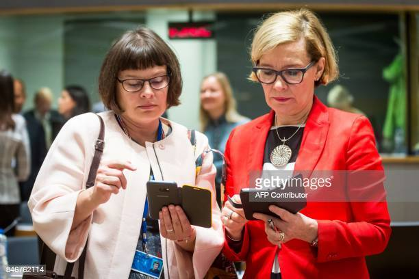 Finnish Interior Minister Paula Risikko is pictured ahead of the EU Justice and Home Affairs Council to discuss cooperation with Libya to stem the...