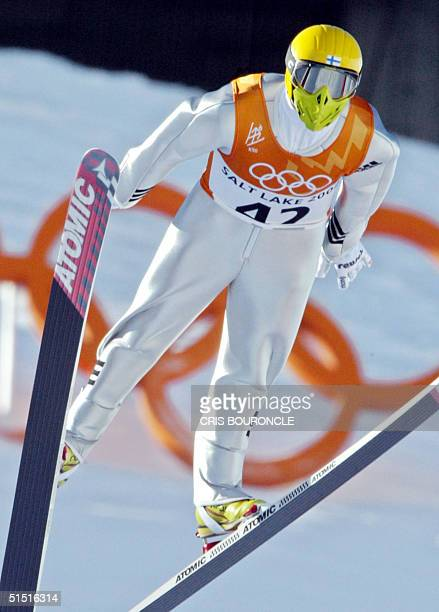 Finnish Janne Ahonen is in airborne during the individual ski-jumping K90 first round of the Salt Lake 2002 Olympic Winter Games at the Utah Olympic...