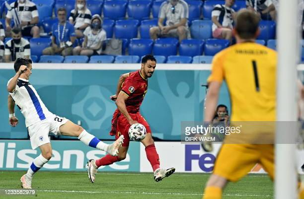 Finnish Jukka Raitala and Belgium's Nacer Chadli pictured in action during a soccer game between Finland and Belgium's Red Devils, the third game in...