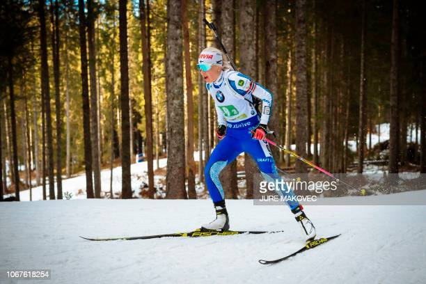 Finnish Kaisa Makarainen competes during the Mixed Relay competition of the IBU Biathlon World Cup in Pokljuka on December 2 2018