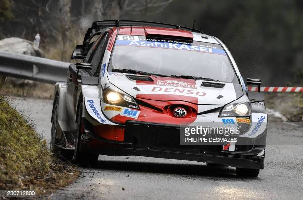 Finnish Kalle Rovanpera and his co-pilot Finnish Jonne Halttunen steer their Toyota Gazoo Racing WRT during the ES 1 of the first stage of the 89th...