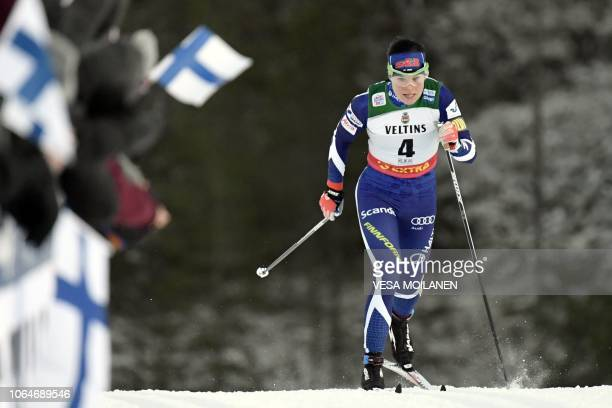 TOPSHOT Finnish Krista Parmakoski competes during Ladies' Cross Country Skiing Sprint Qualification at FIS Nordic Skiing World Cup in Ruka on...