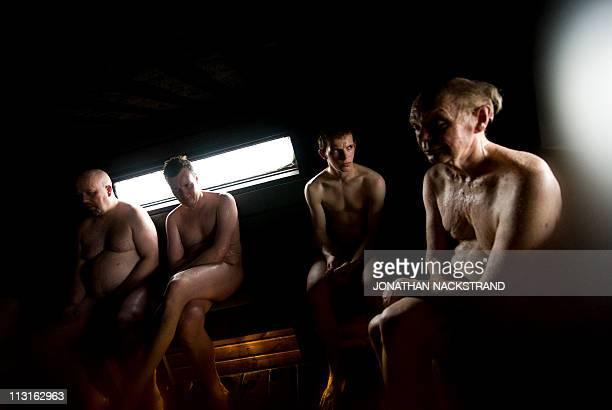 Finnish men sit naked in a public sauna in Helsinki on April 15 2011 AFP PHOTO / JONATHAN NACKSTRAND
