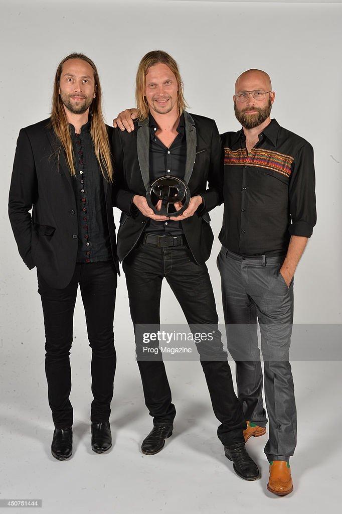 Finnish musicians (L-R) Jonne von Hertzen, Mikko von Hertzen and Kie von Hertzen photographed after winning the Anthem Award at the 2013 Progressive Music Awards at Kew Gardens in London, on September 3, 2013.