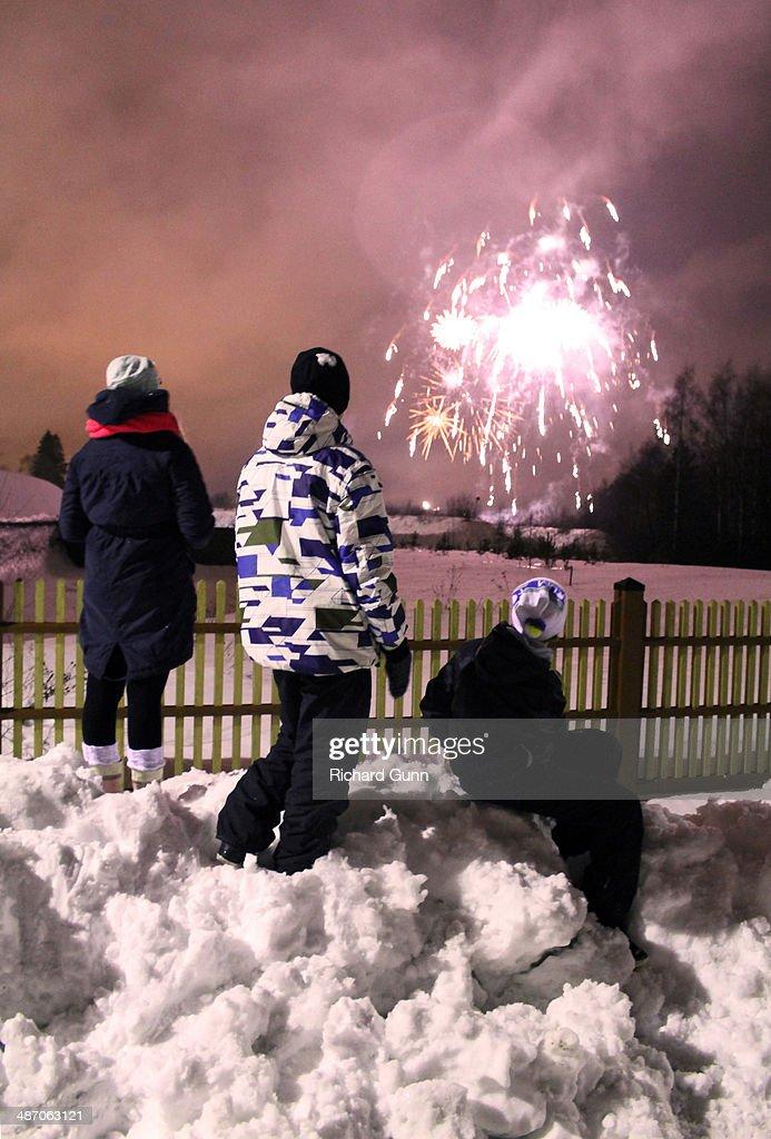 Finnish New Year Fireworks : Stock Photo