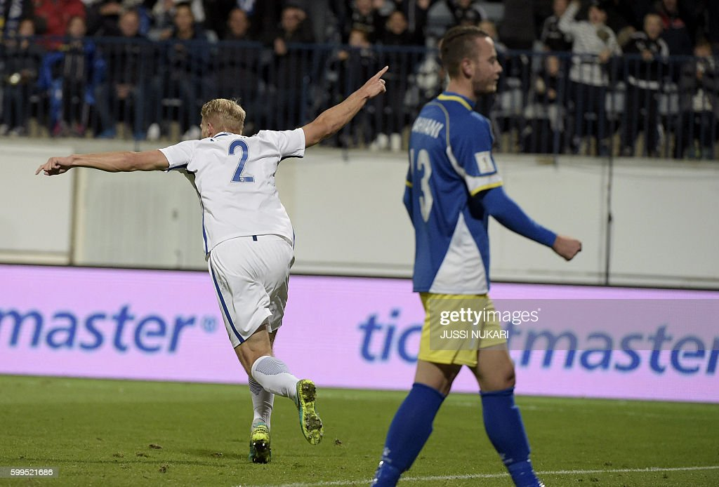 Finnish Paulus Arajuuri (2) reacts after scoring the opening goal during the WC 2018 football qualification match between (group I) Finland vs Kosovo in Turku on September 5, 2016. / AFP / Lehtikuva / Jussi Nukari / Finland OUT